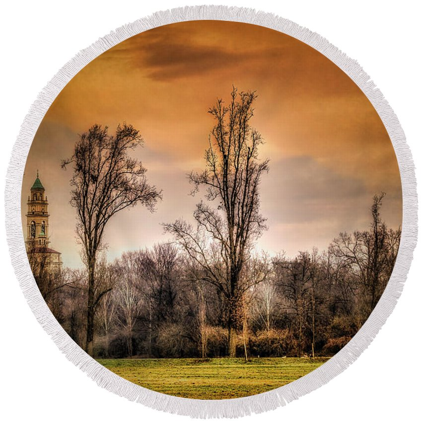 Color Efex Pro Round Beach Towel featuring the photograph Countryscape With Bell Tower by Roberto Pagani