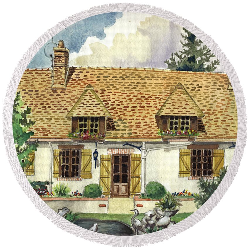 House Round Beach Towel featuring the painting Countryside House In France by Alban Dizdari