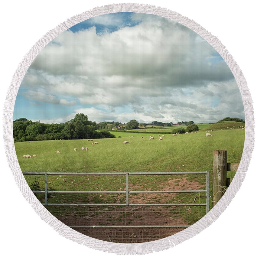 Agriculture Round Beach Towel featuring the photograph Countryside In Wales by Patricia Hofmeester
