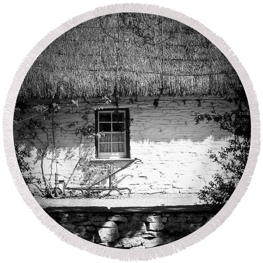 Irish Round Beach Towel featuring the photograph County Clare Cottage Ireland by Teresa Mucha