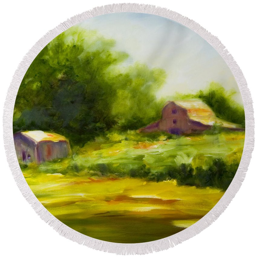 Landscape In Green Round Beach Towel featuring the painting Courage by Shannon Grissom