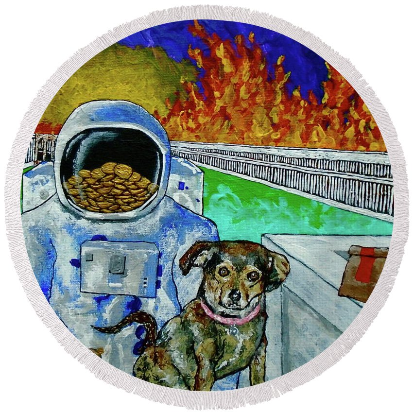 Art & Collectibles Painting Acrylic Fire Flames Sunset Roman Buildings Astronaut Puppy Fast Food Bags Gold Coins Swords Weird Odd Ooak One Of A Kind Interior Decorations Round Beach Towel featuring the painting Deeper Experience In Retrospect by Mike Kraus