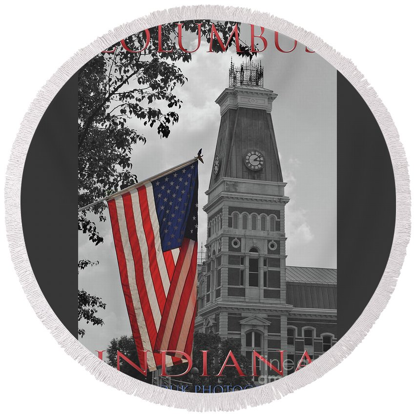 Columbus Round Beach Towel featuring the photograph Courthouse In America by Jost Houk