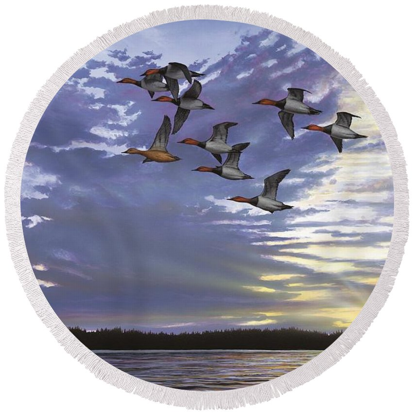 Cavasback Round Beach Towel featuring the painting Courtship Flight by Anthony J Padgett
