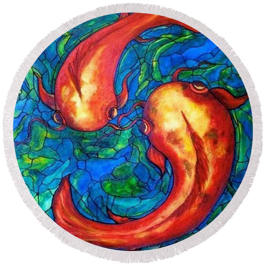 Original Painting Round Beach Towel featuring the painting Courtship by Rae Chichilnitsky