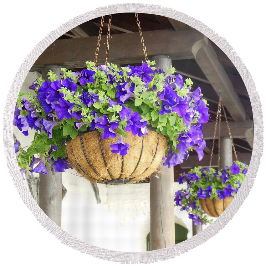 Hanging Flowers Round Beach Towel featuring the photograph Courtyard Petunias by Susan Lafleur