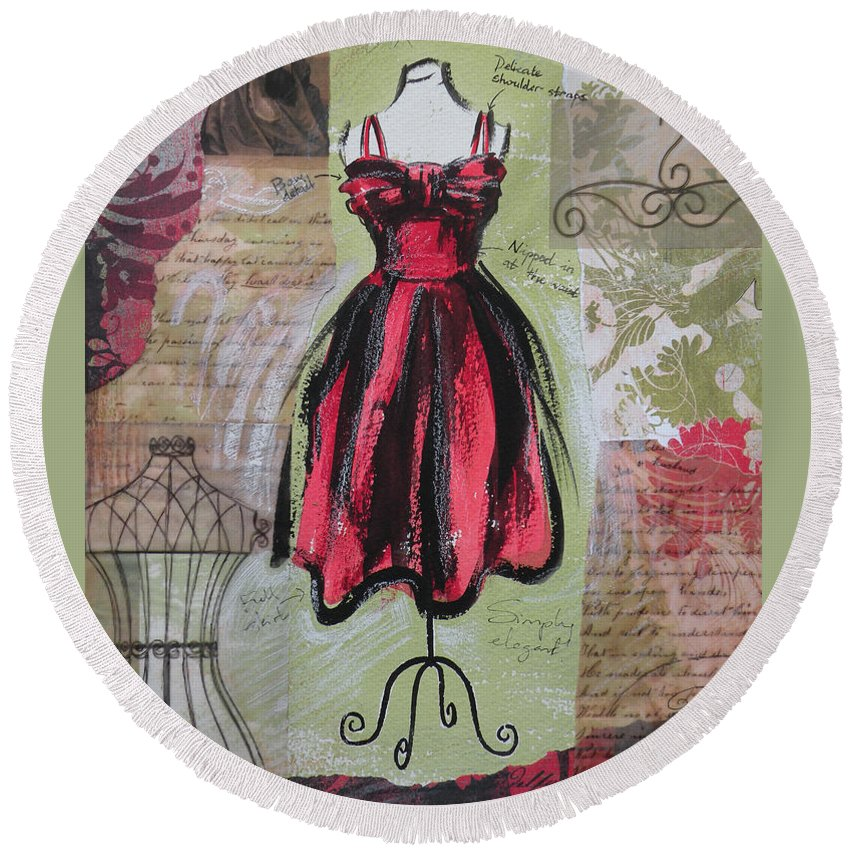 Round Beach Towel featuring the painting Couture I by Leigh Banks