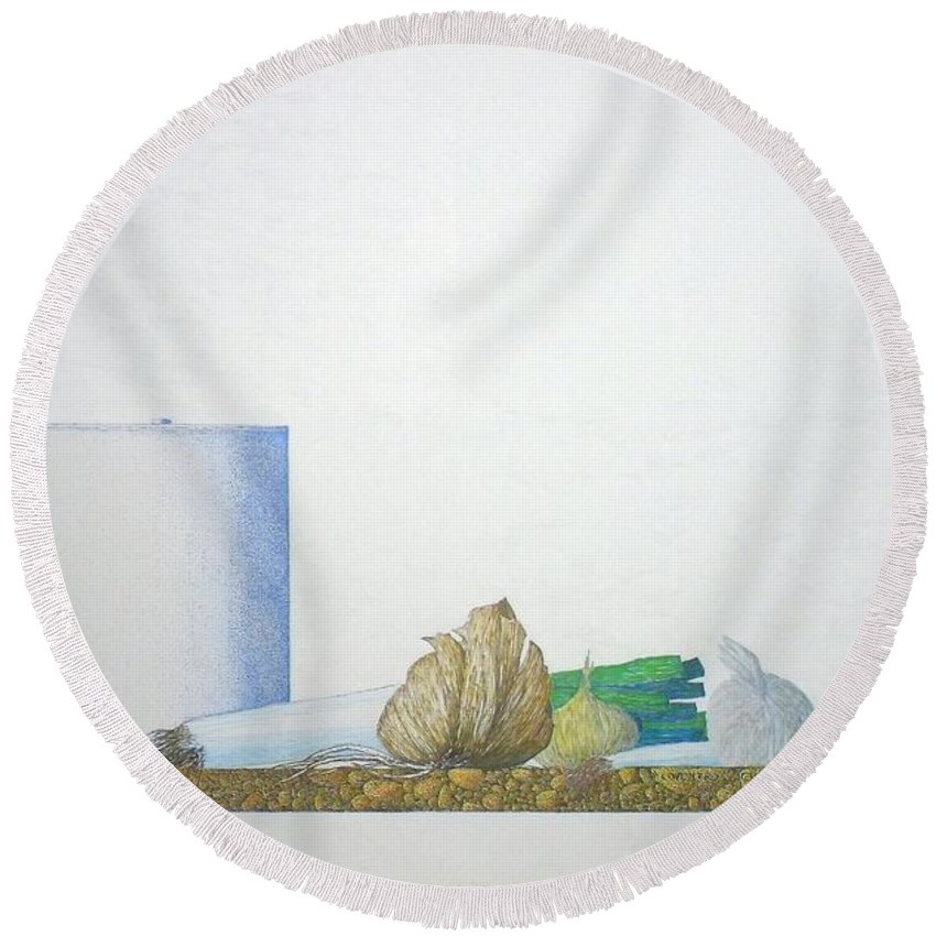 Onions Round Beach Towel featuring the painting Coventry by A Robert Malcom
