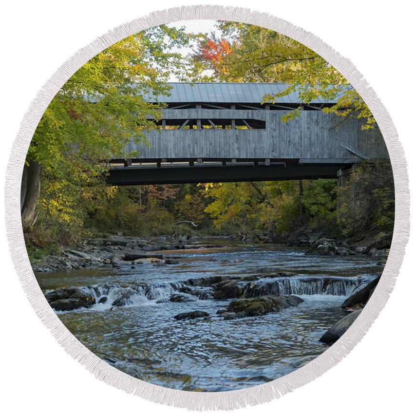 Westford Vermont Browns River Covered Bridge Bridges Structure Structures Landscape Landscapes Tree Trees Autumn Leaves Fall Color Leaf Architecture Rivers Water Rock Rocks Stone Stones Round Beach Towel featuring the photograph Covered Bridge Over Brown River by Bob Phillips
