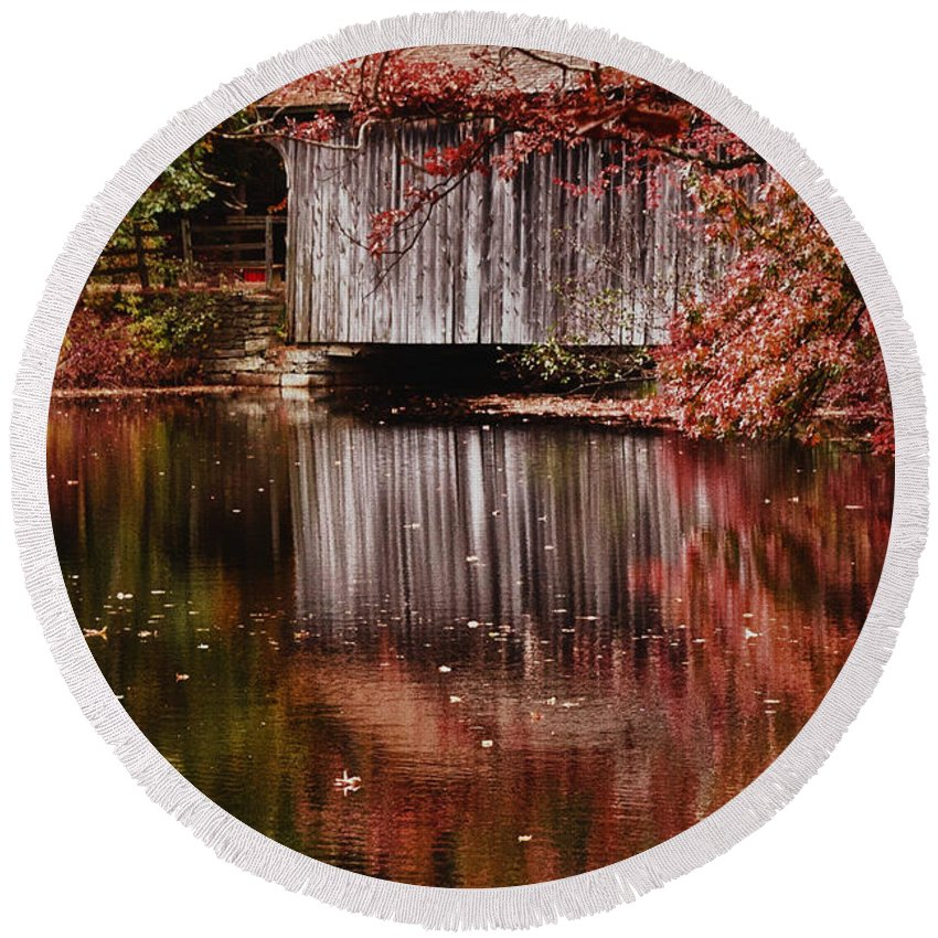 #jefffolger Round Beach Towel featuring the photograph Covered Bridge Reflection by Jeff Folger
