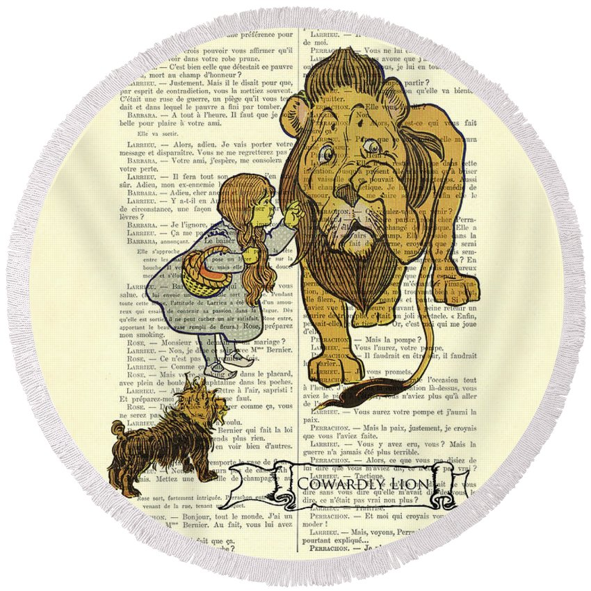 The Wizard Of Oz Round Beach Towel featuring the digital art Cowardly Lion, The Wizard Of Oz Scene by Madame Memento