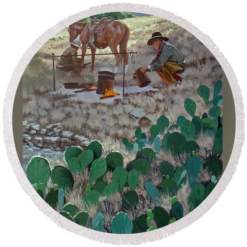 Texas Round Beach Towel featuring the painting Cowboy Coffeebreak by Russell Cushman