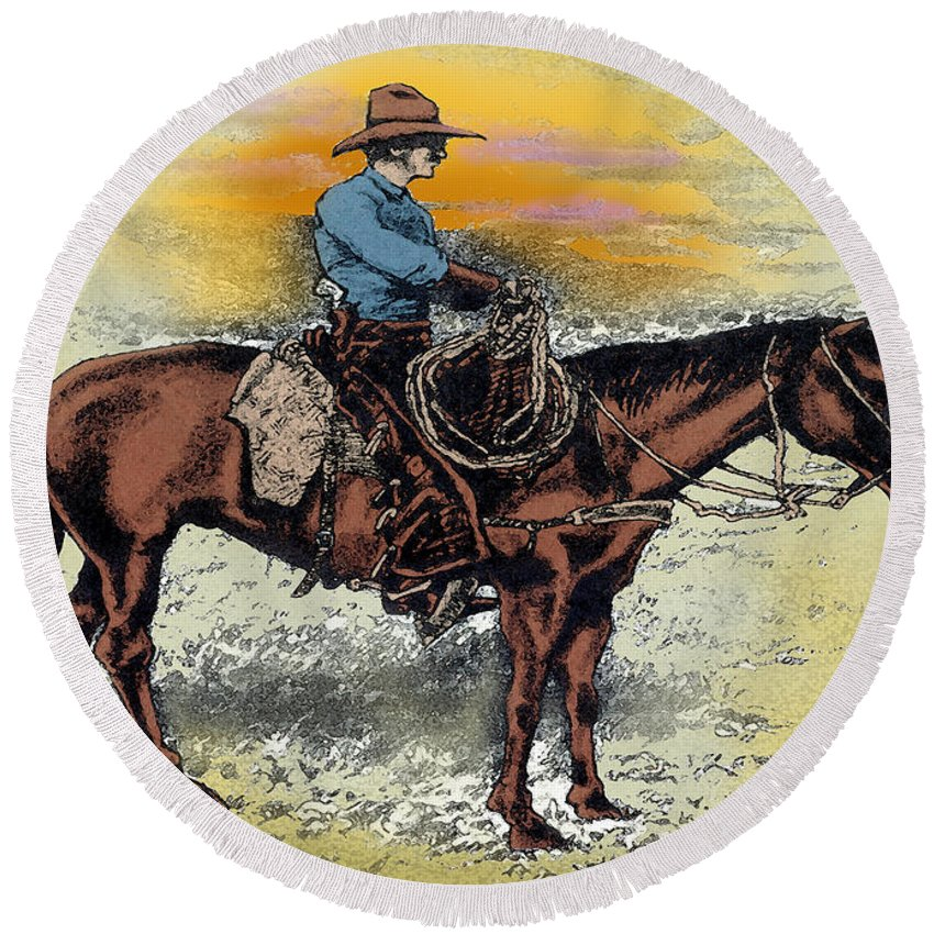 Cowboy Round Beach Towel featuring the painting Cowboy N Sunset by Kevin Middleton