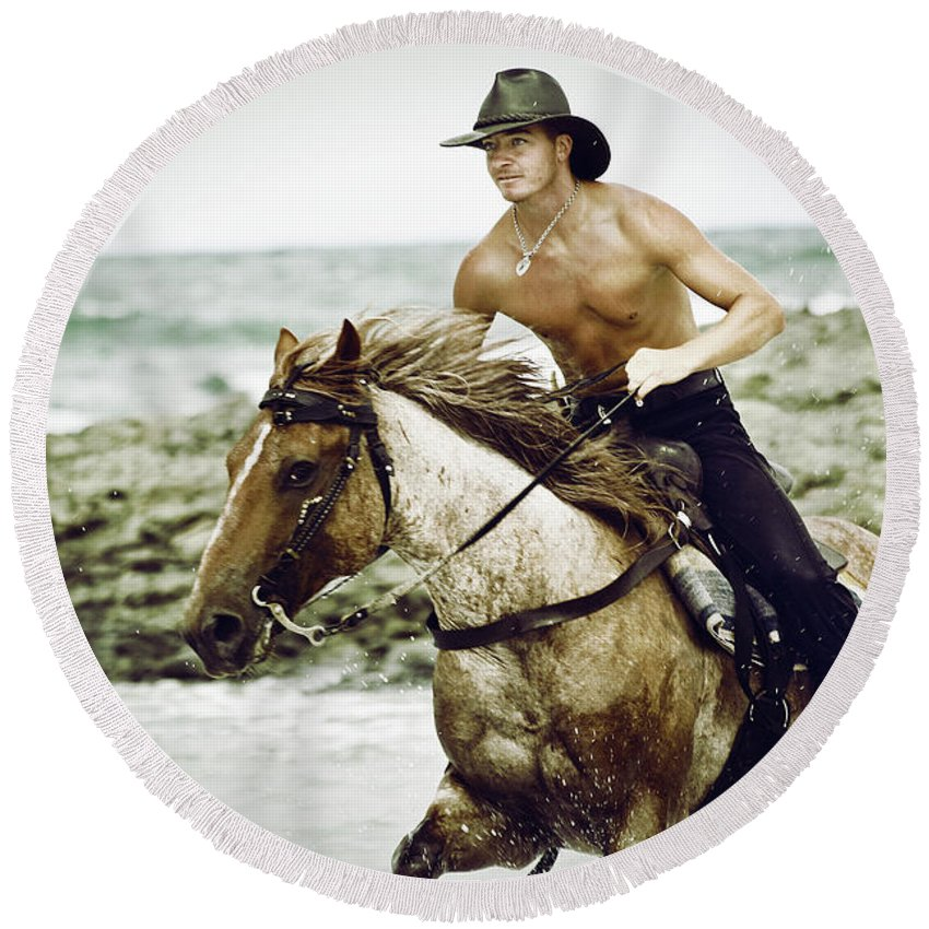 Horse Round Beach Towel featuring the photograph Cowboy Riding Horse On The Beach by Dimitar Hristov