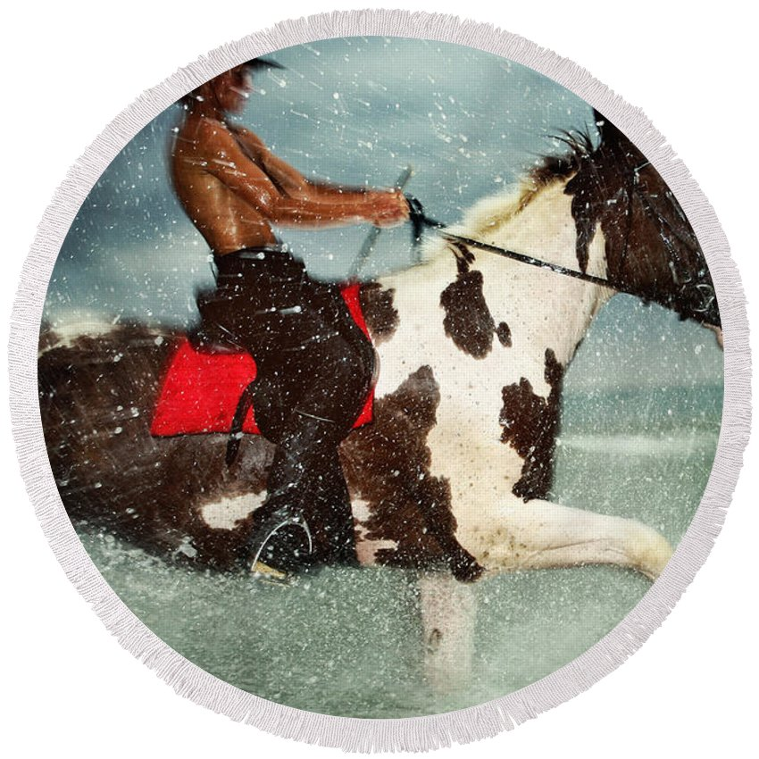 Horse Round Beach Towel featuring the photograph Cowboy Riding Paint Horse In The Water by Dimitar Hristov