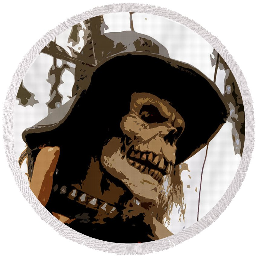 Cowboy Round Beach Towel featuring the digital art Cowboy Skeleton by David Lee Thompson