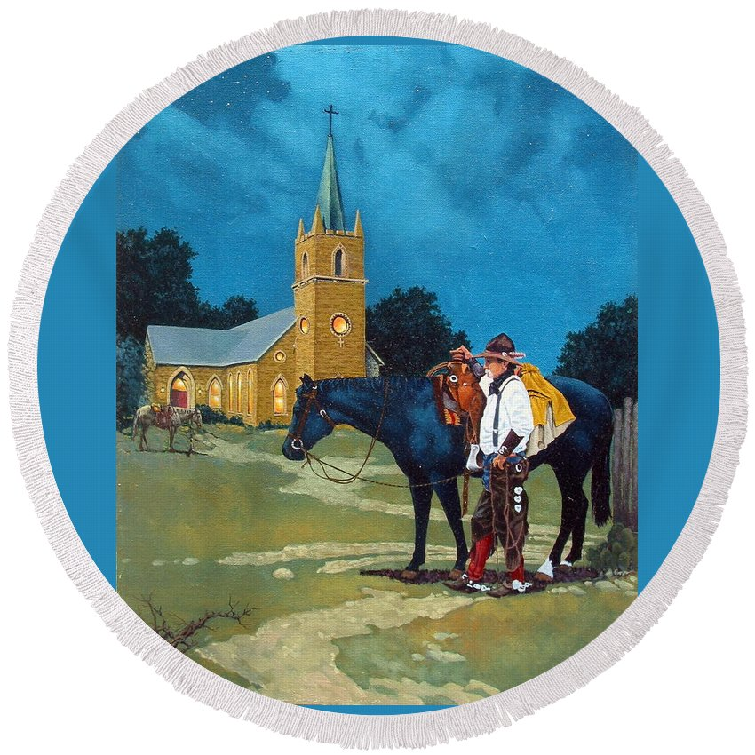 Western Round Beach Towel featuring the painting Cowboy's Prayer by Jim Bob Swafford