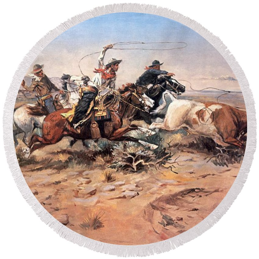 Cowboys Round Beach Towel featuring the painting Cowboys Roping A Steer by Charles Marion Russell