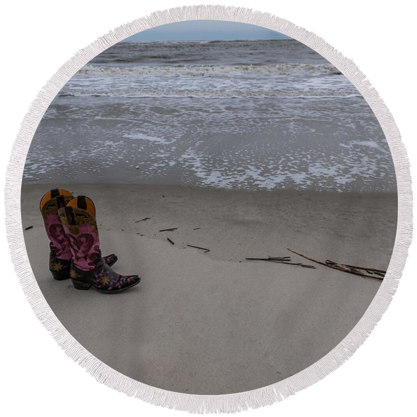 Cowgirl Round Beach Towel featuring the photograph Cowgirl Day At Beach by Dale Powell