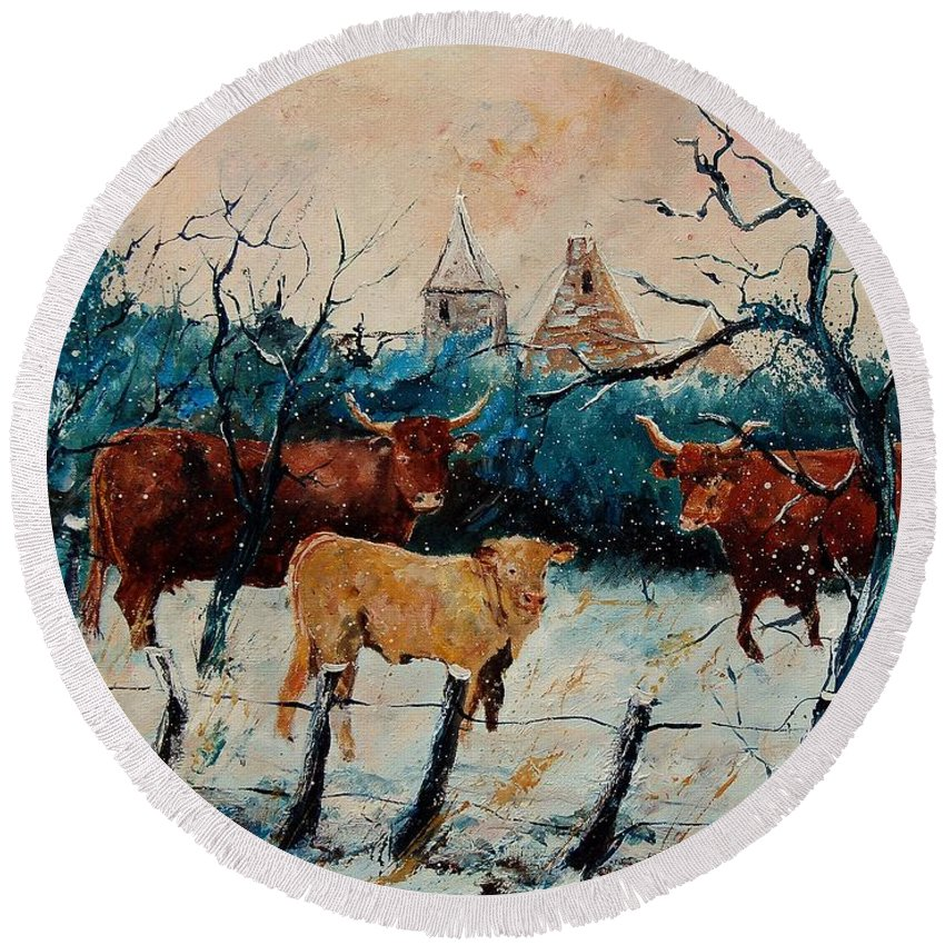 Animal Round Beach Towel featuring the painting Cows by Pol Ledent