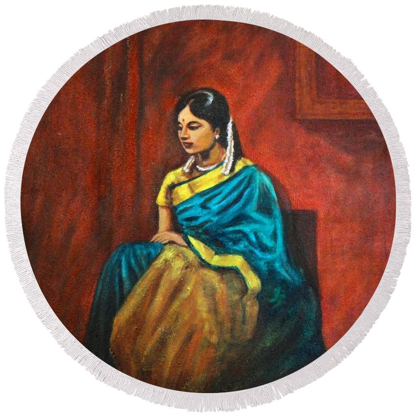 Coy Round Beach Towel featuring the painting Coy by Usha Shantharam