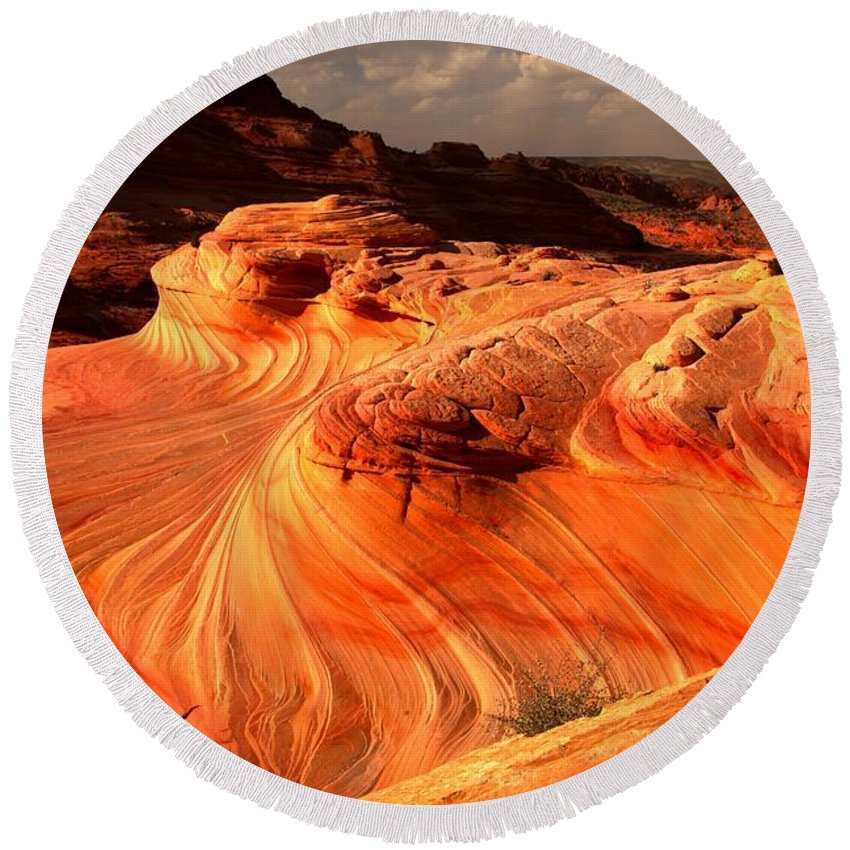The Wave Round Beach Towel featuring the photograph Coyote Buttes Rainbow Dragon by Adam Jewell