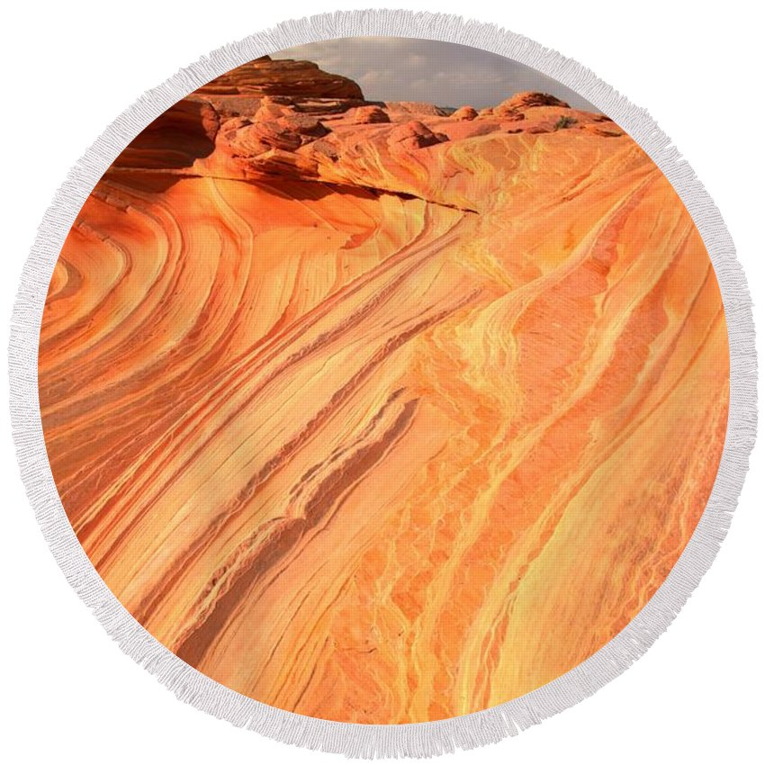 The Wave Round Beach Towel featuring the photograph Coyote Buttes Sunset Glow by Adam Jewell
