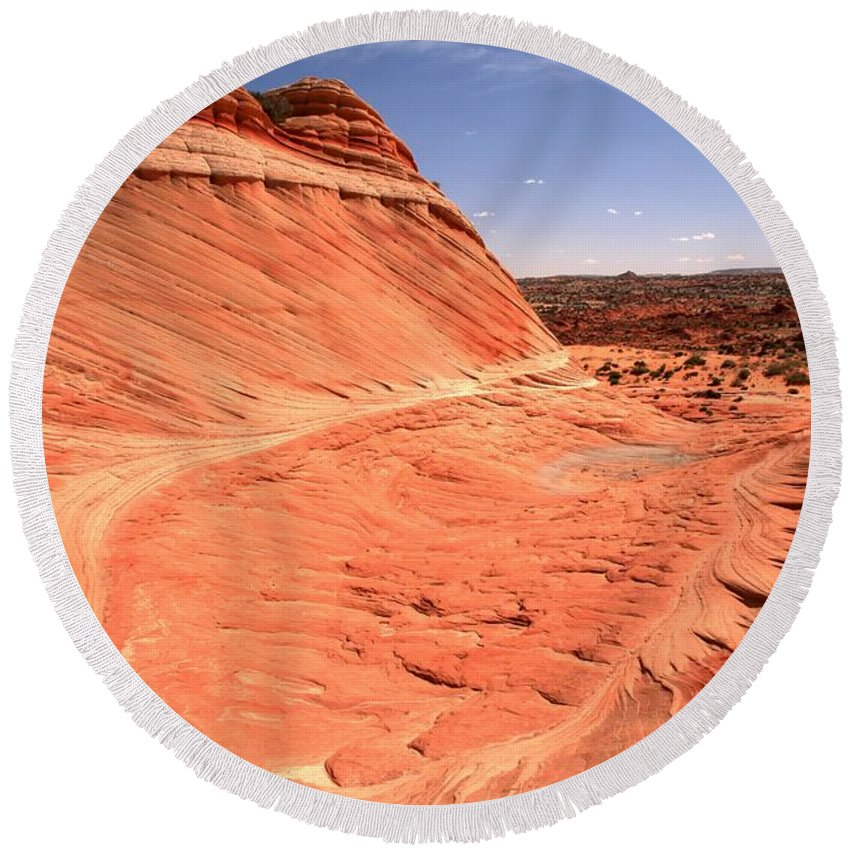 Coyote Buttes Round Beach Towel featuring the photograph Coyote Buttes Swirling Sandstone by Adam Jewell