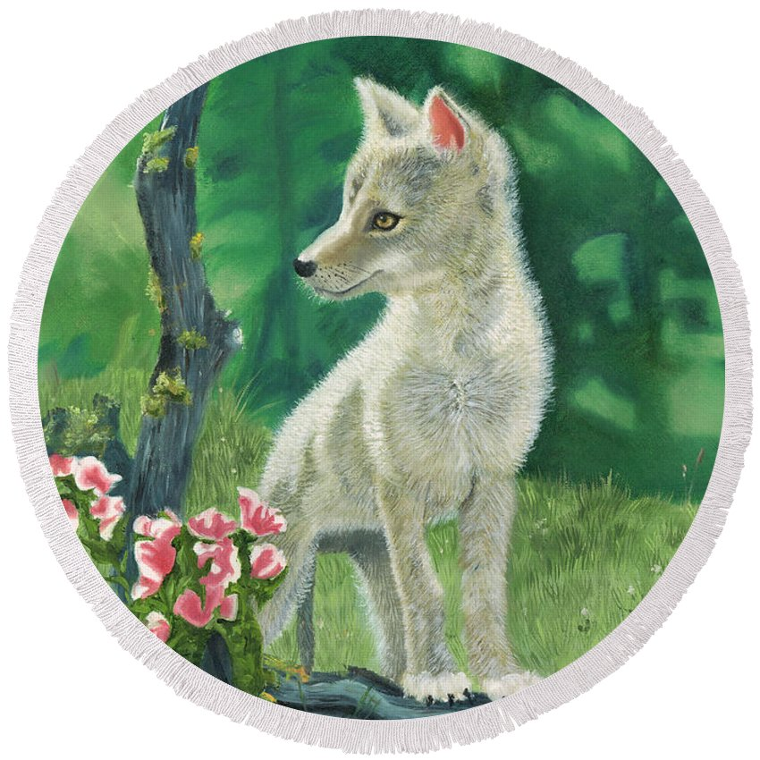 Dog Round Beach Towel featuring the painting Coyote Pup by Terry Lewey