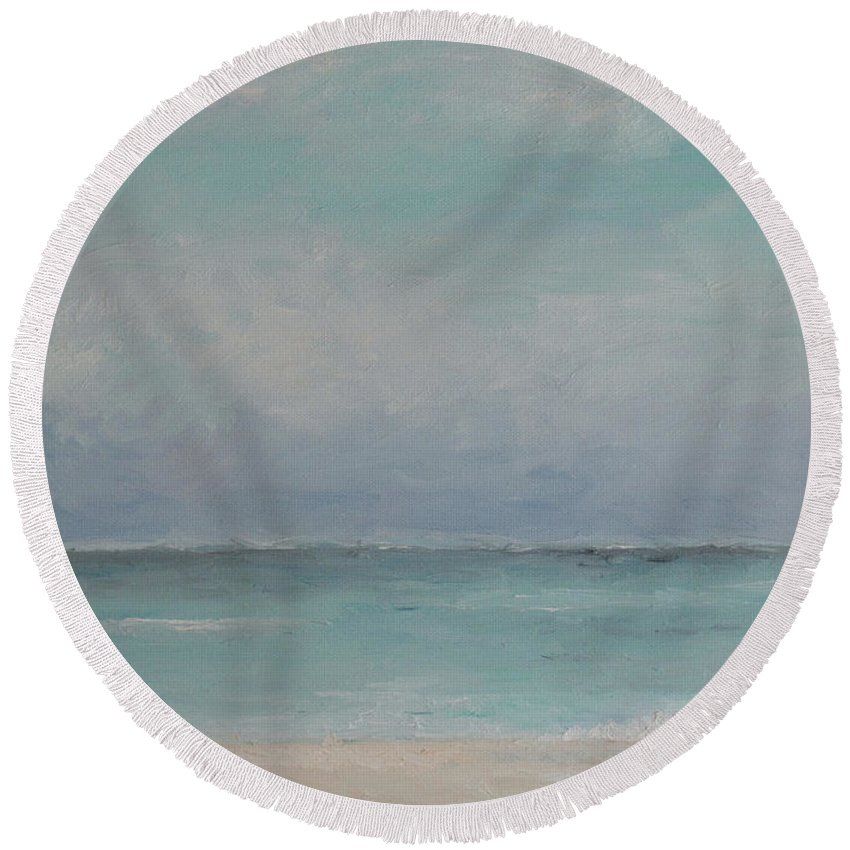 Seascape Round Beach Towel featuring the painting Cozumel Beach by Julie Dalton Gourgues