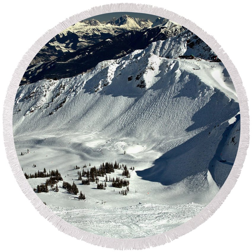 Kicking Horse Round Beach Towel featuring the photograph Cpr Ridge Extreme Terrain by Adam Jewell