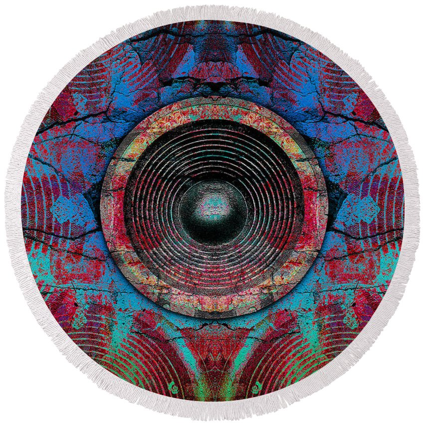 Speaker Round Beach Towel featuring the digital art Cracked Music Speaker 3 by Steve Ball