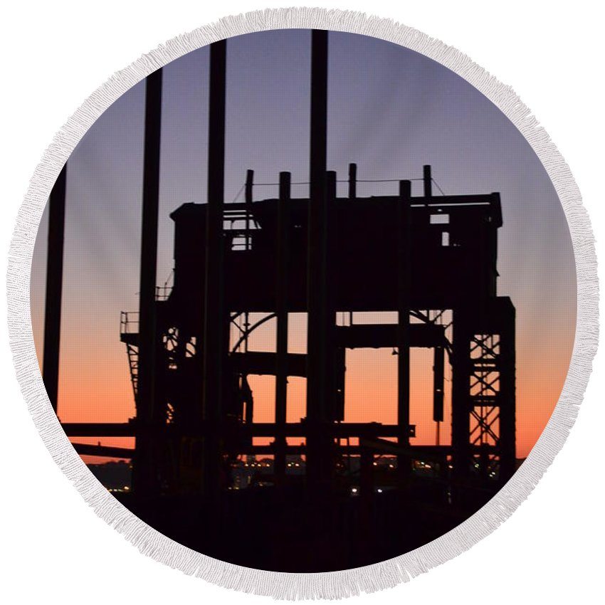 Crane At Sunset Round Beach Towel featuring the photograph Crane At Sunset by Des Brownlie