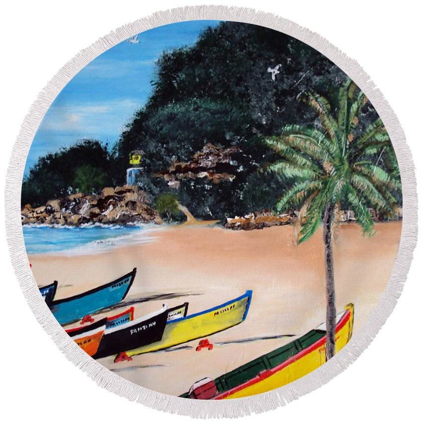 Aguadilla Round Beach Towel featuring the painting Crashboat Beach I by Luis F Rodriguez