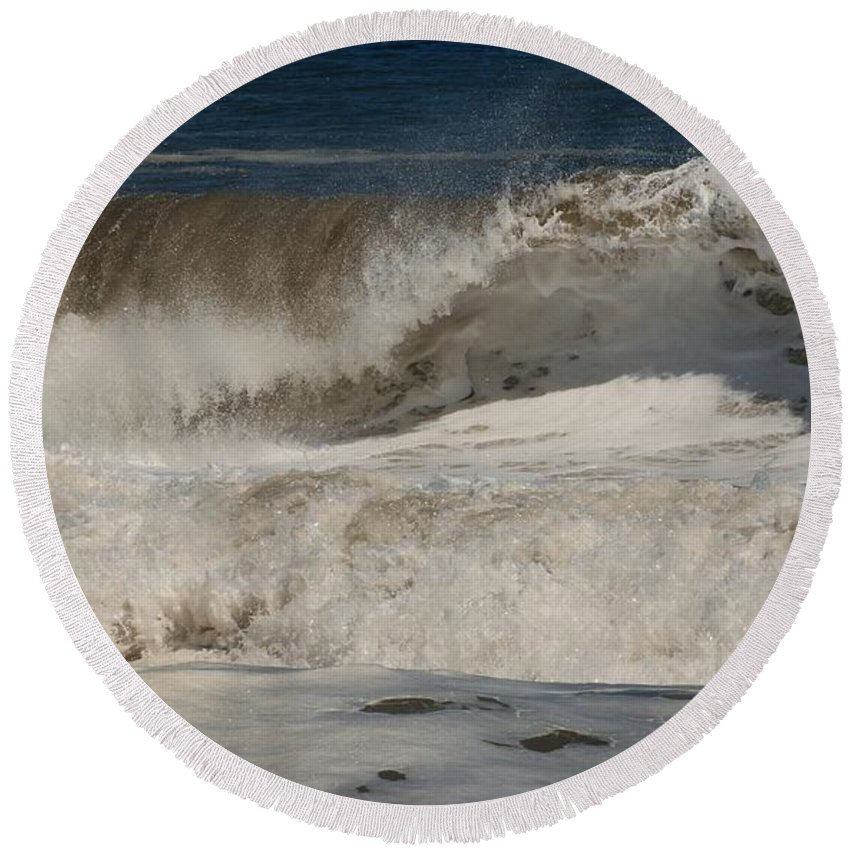 Jersey Shore Round Beach Towel featuring the photograph Crashing - Jersey Shore by Angie Tirado