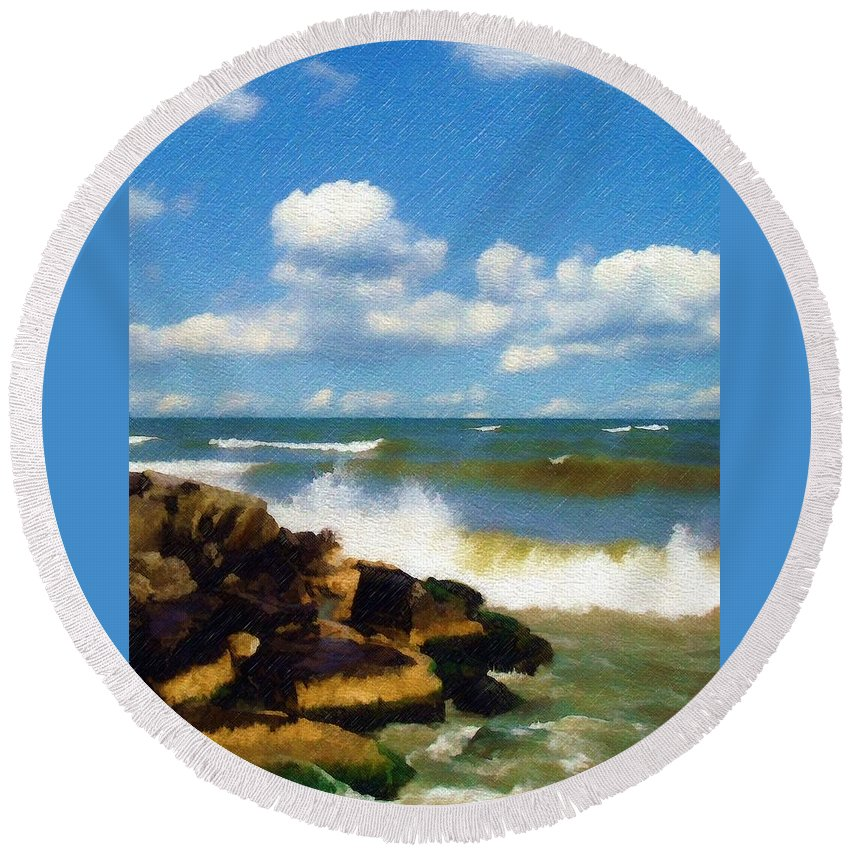 Seascape Round Beach Towel featuring the photograph Crashing Into Shore by Sandy MacGowan