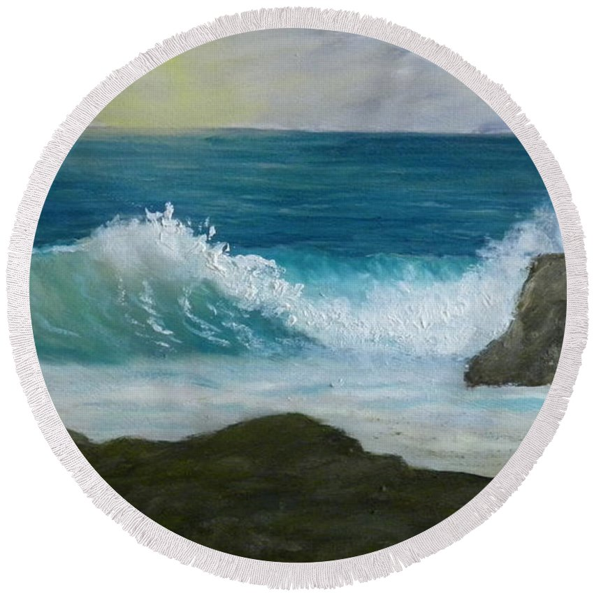 Waves Seascape Landscape Ocean Rocks Coast Maine Round Beach Towel featuring the painting Crashing Wave 3 by Scott W White