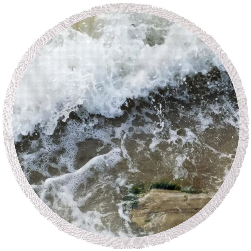 Water Round Beach Towel featuring the photograph Crashing Waves by Kai Velasquez