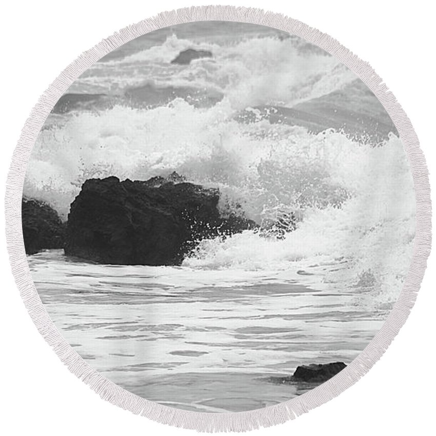 Waves Round Beach Towel featuring the photograph Crashing Waves by Mellissa Ray