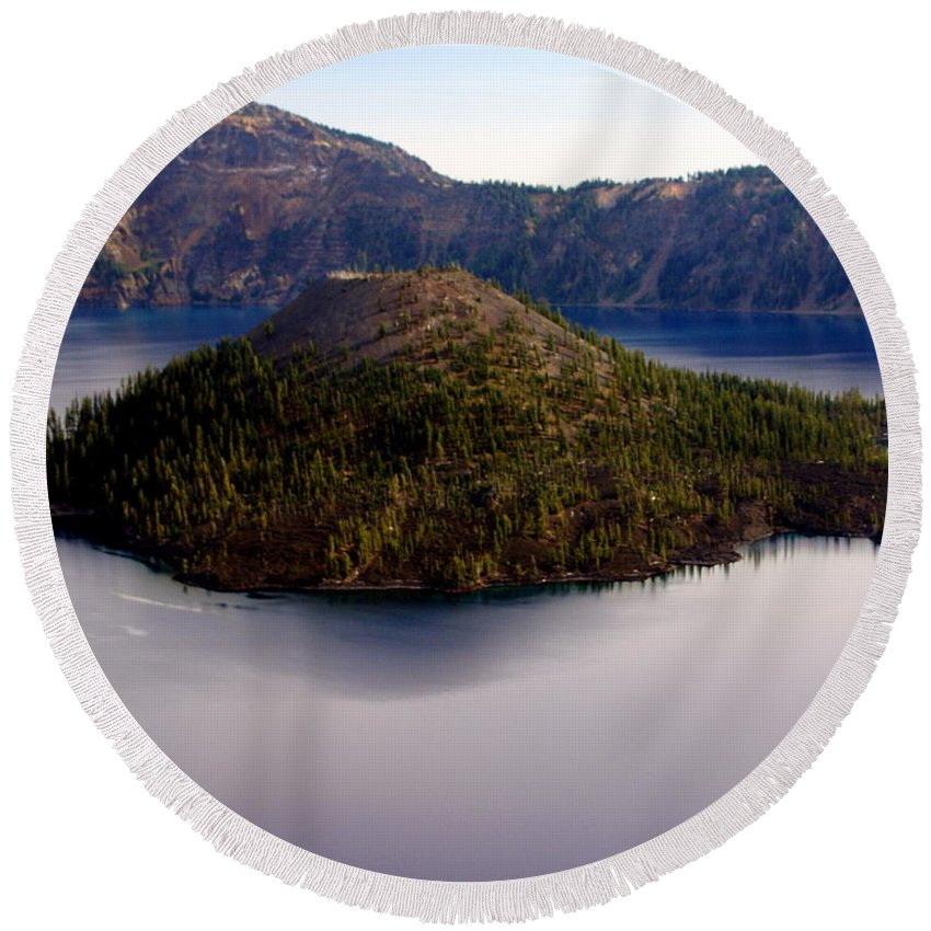 Crater Lake Round Beach Towel featuring the photograph Crater Lake 1 by Marty Koch