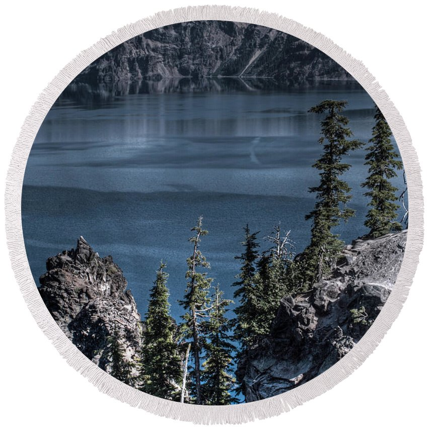 Crater Lake Oregon Round Beach Towel featuring the photograph Crater Lake 4 by Jacklyn Duryea Fraizer