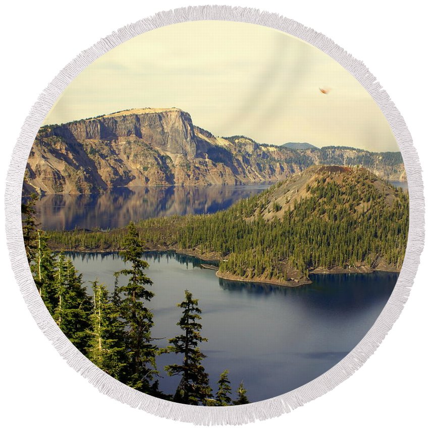 Crater Lake Round Beach Towel featuring the photograph Crater Lake 6 by Marty Koch