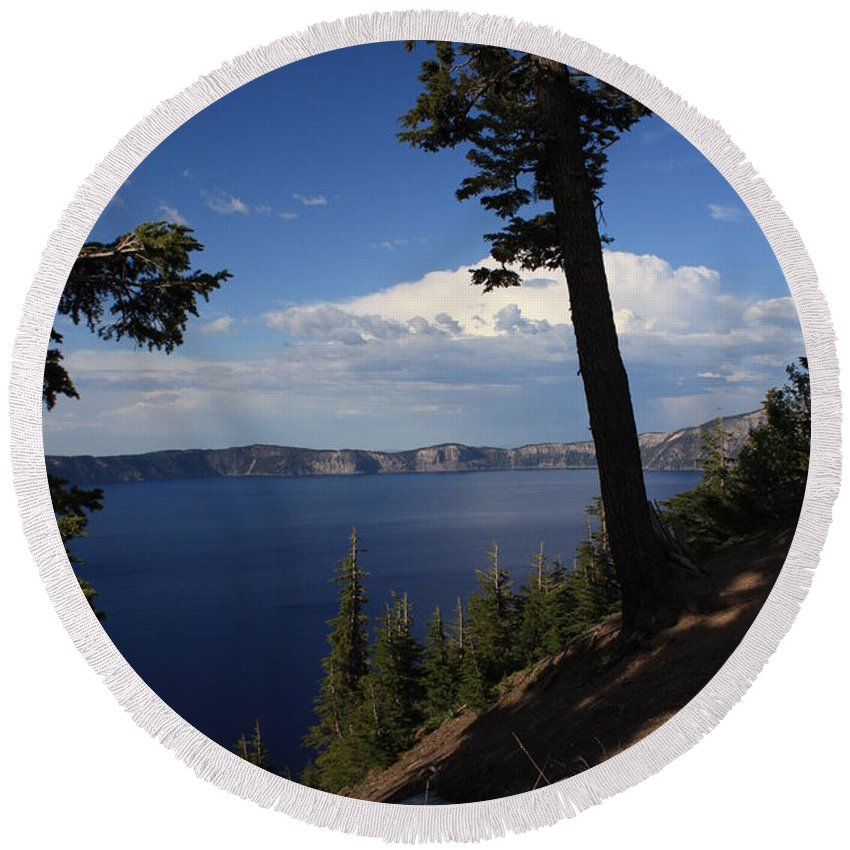 Landscape Round Beach Towel featuring the photograph Crater Lake 7 by Carol Groenen