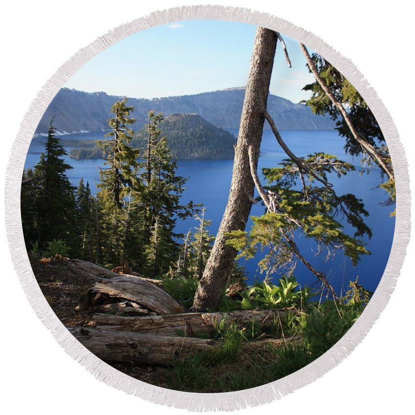 Crater Lake Round Beach Towel featuring the photograph Crater Lake 9 by Carol Groenen