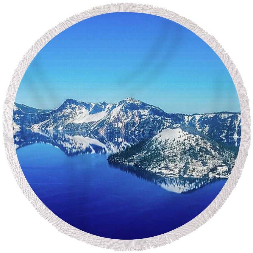 Lake Round Beach Towel featuring the photograph Crater Lake Blue by Jonny D