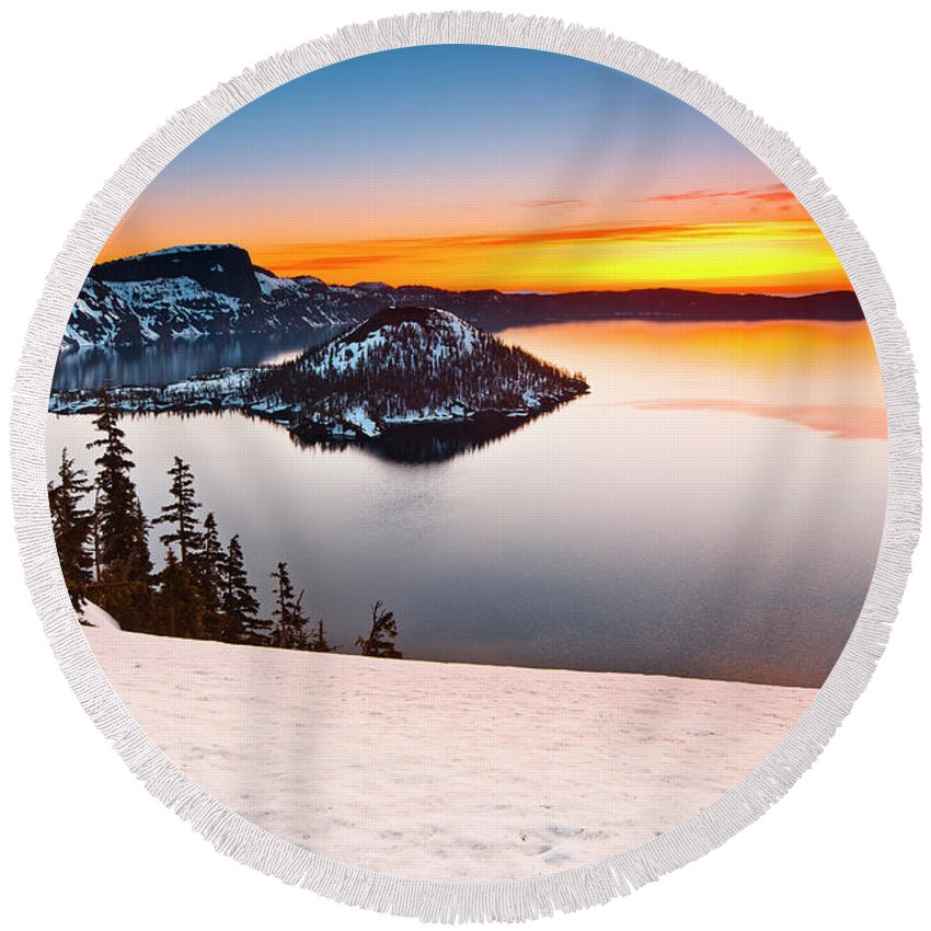 Cascades Round Beach Towel featuring the photograph Crater Lake Dawn by Greg Nyquist