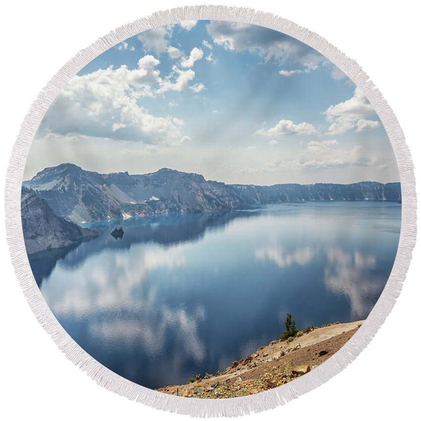 Crater Lake Round Beach Towel featuring the photograph Crater Lake With A View Of The Phantom Ship by Belinda Greb
