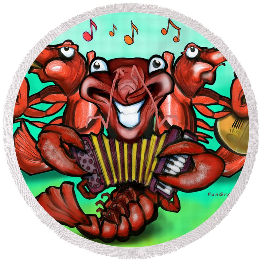 Crawfish Round Beach Towel featuring the greeting card Crawfish Band by Kevin Middleton