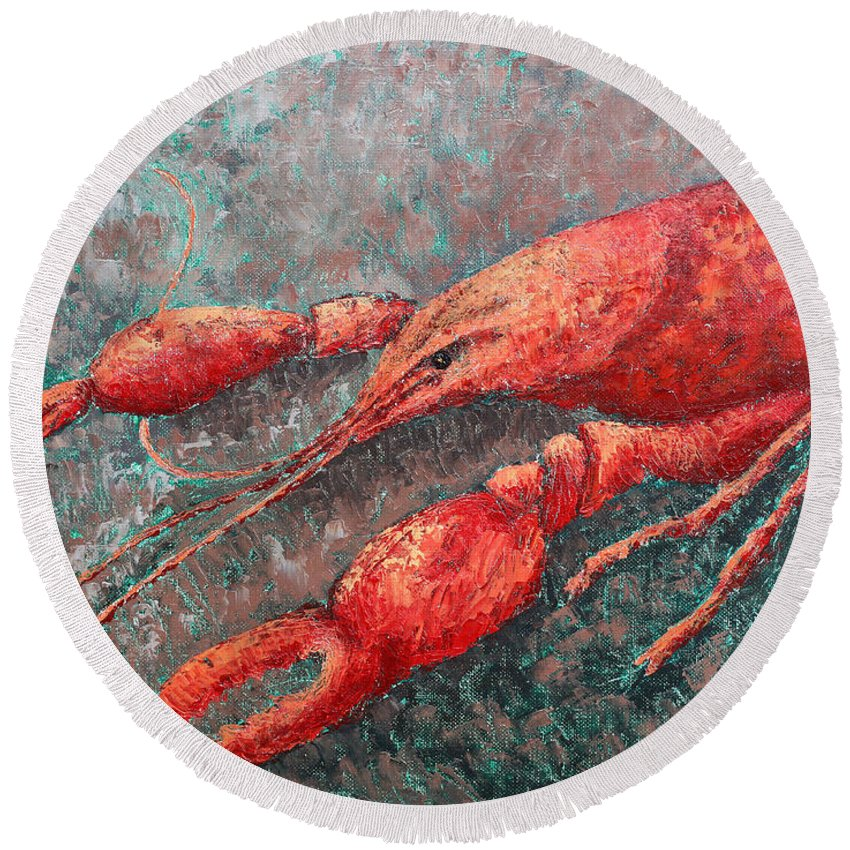Animal Round Beach Towel featuring the painting Crawfish by Todd A Blanchard