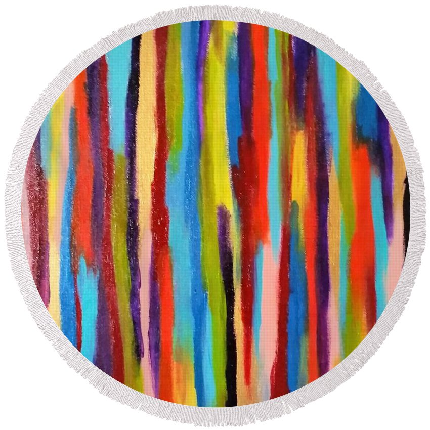 Abstract Round Beach Towel featuring the painting Crayons by Danusha Grigar